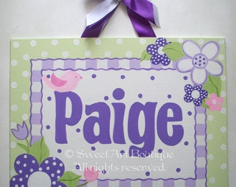 Purple Green Canvas name sign. Personalized name art. Personalized Monogram. Hand Painted. Flower nursery decor. Girls room decor.