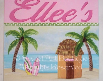 Personalized Custom Beach Surf Shack Shop pink Palm Tree canvas hut surfer name sign wall art baby nursery children decor baby painting