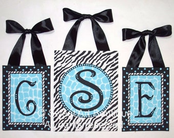 Zebra, Giraffe, Canvas Wall art, Monogram set, Nursery wall art, Zebra nursery, tuquoise, aqua, black, Painting, Kids wall art, Girls art