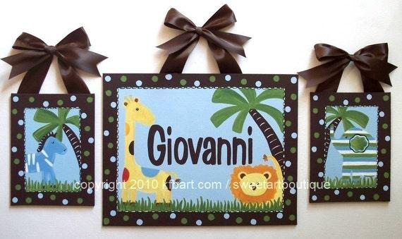 Custom canvas safari letter name sign wall art baby nursery set art jungle animals brown blue lion giraffe elephant zebra children decor