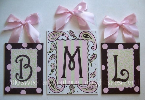 Pink Brown personalized Paisley Monogram Set CUSTOM canvas letter name sign wall art initial baby nursery green painting white stripes dots
