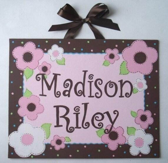 Pink Flowers, Canvas name sign, Girls wall art, Girls door sign, Nursery wall art, monogram painting,  hand painted, Pink Brown nursery