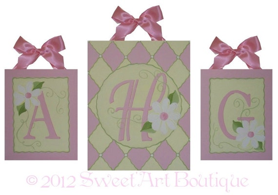 Pink Yellow sage green Daisy Flowers Custom canvas letter sign wall Monogram initial set art children GIRL diamond garden harlequin Large