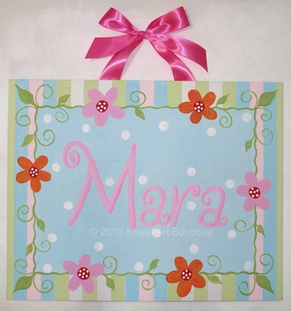 Aqua, Canvas name sign, Flowers, Stripes, Dots, Nursery wall art, Personalized, Pink, Girls room art, Monogram art, Painting, Hand Painted