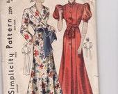 Vintage Sewing Pattern Ladies 1930's House Coat or Robe Simplicity 2299 34 Bust