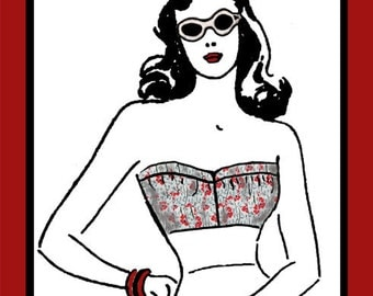 """Vintage Sewing Pattern Ladies' Bandeau Top 31"""" Bust  Depew #2011 -INSTANT DOWNLOAD- Free Pattern Grading E-book Included"""