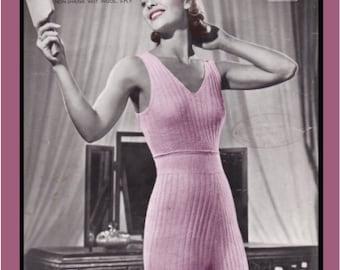 Vintage Knitting Pattern 1940's Ladies Lingerie Cami Knickers Underwear Set PDF Printable -INSTANT DOWNLOAD-