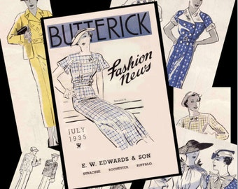Vintage Sewing Pattern Catalog July 1935 Butterick Fashion News Advertisement Digital Ebook PDF Copy -INSTANT DOWNLOAD-