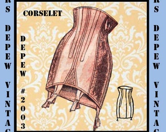 Vintage Sewing Pattern French Corselet Ladies 1950's Multisize Waist Cincher #2003 -INSTANT DOWNLOAD-
