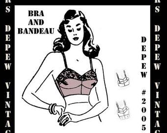 Vintage Sewing Pattern 1940's Ladies Bra and Bandeau Printable PDF Depew 2005 -INSTANT DOWNLOAD-