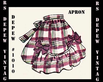Vintage Sewing Pattern Apron PDF Print At Home 1940's Style One Size Depew 1010 -INSTANT DOWNLOAD-