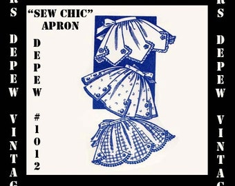 Vintage Sewing Pattern Sew Chic Apron PDF Printable Copy 1940's Style, One Size Depew 1012 -INSTANT DOWNLOAD-