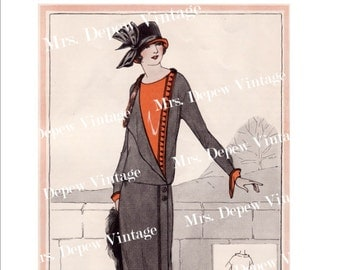 Vintage Fashion Plate From 1925 Digital Copy for Printing, Framing, Scrapbooking etc. -INSTANT DOWNLOAD-