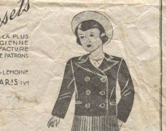 Vintage Sewing Pattern 1940's Girl's Jacket French Patrons Universels 5657