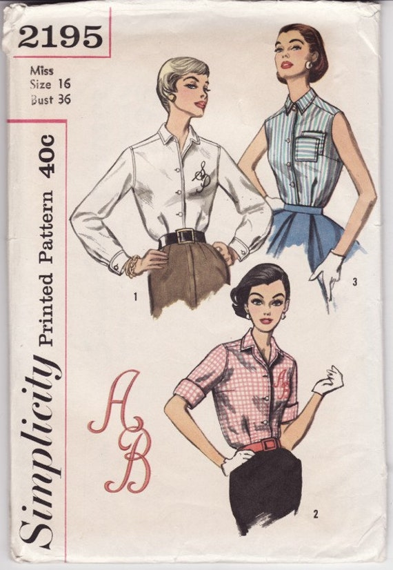 Simplicity 2195 Vintage Ladies Blouse Sewing Pattern 36 Bust