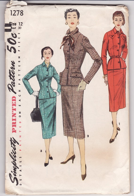 "Simplicity 1278 Ladies Suit 1950's Vintage Sewing Pattern 30"" Bust"