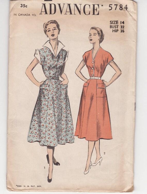 Advance 5784 ladies Dress Vintage Sewing Pattern FF 32 Bust