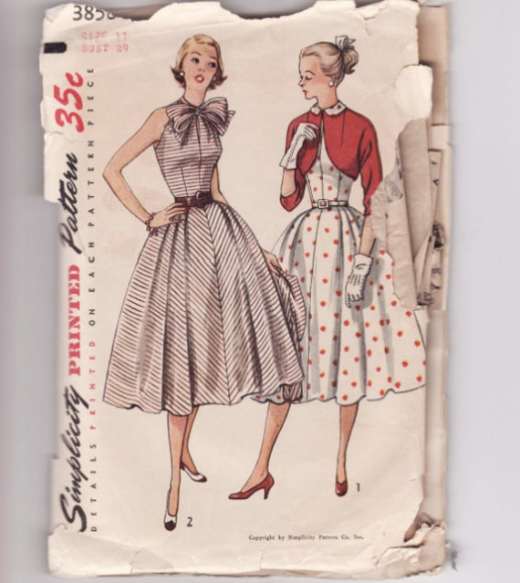 RESERVED for RetroZombie Simplicity 3858 Dress and Bolero Vintage Sewing Pattern Bust 29