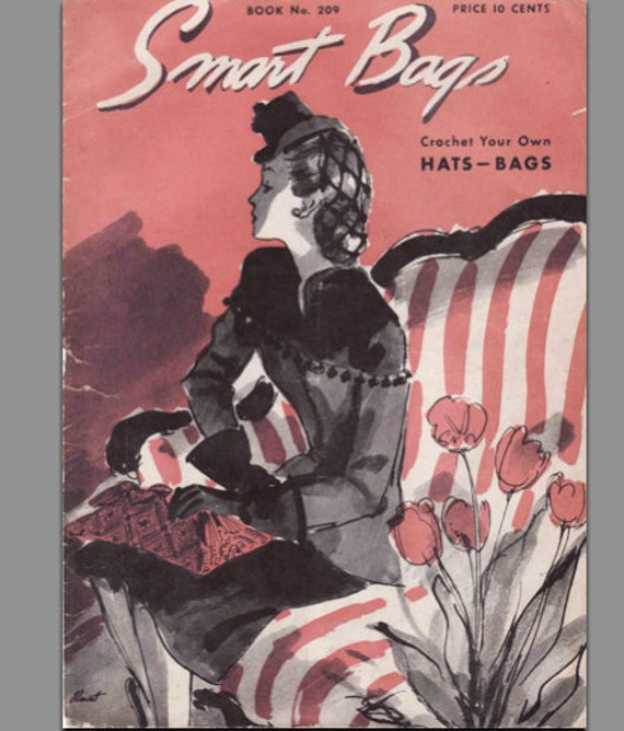 Knitting Pattern Booklet Smart Bags From 1944 Stylish Hat and Bag PDF Copy -INSTANT DOWNLOAD-
