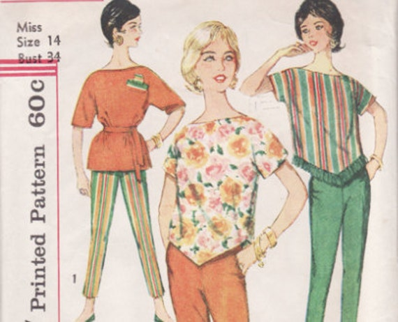 Vintage Sewing Pattern 1950's Top and Pants Pattern with Transfer Bust 34 Simplicity 3703