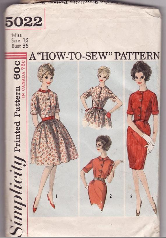 Vintage Sewing Pattern Ladies 1950's Wiggle Dress Simplicity 5022 36 Bust