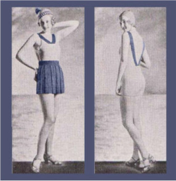 Vintage Knitting Pattern 1930's Bathing Suit and Beach Ensemble PDF Digital Copy Size 16 -INSTANT DOWNLOAD-