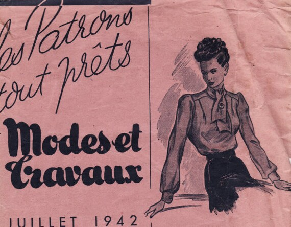 Vintage Sewing Pattern French 1940's Modes et Travaux 94 Ladies Blouse Size 44