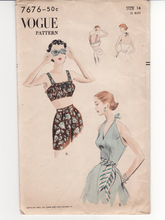 "Vintage Sewing Pattern 1950's Beach Bra and Halter Top Vogue 7676 32"" Bust FF"