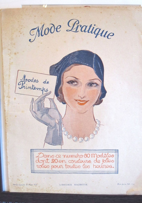 Vintage French Magazine Mode Pratique March 1931 Fashion Sewing and Knitting