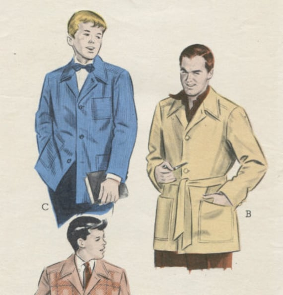 Vintage Sewing Pattern Butterick 6320 Young  Men's Shirt Sport Jacket Boys 12-14