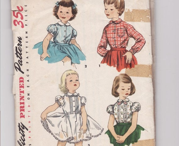 Vintage Sewing Pattern Simplicity 1287 Girl's Blouse and Dress 1950's  Size 6 SALE