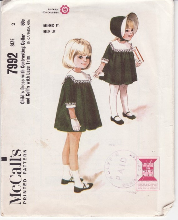 McCall's 7992 Girl's Dress With Cuffs and Lace Trim Vintage Sewing Pattern