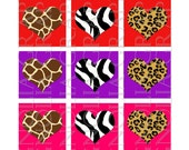 1 Inch Square Graphics Animal Print Hearts for Glass Tiles