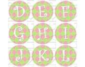Bottle Cap Digital Images Alphabet Pink and Green Harlequin 1 inch