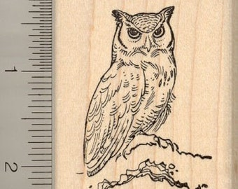 Great Horned Owl Rubber Stamp - Wood Mounted H11403