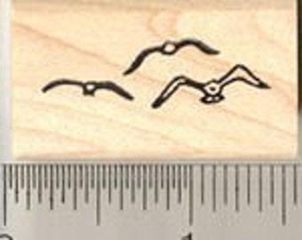 Flock of Seagulls rubber stamp B7108 birds WM seagull
