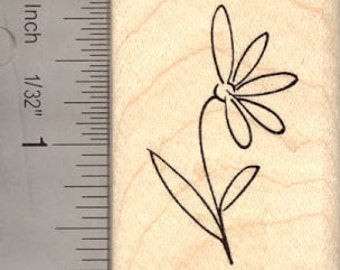 Flower Rubber Stamp E13919 Wood Mounted