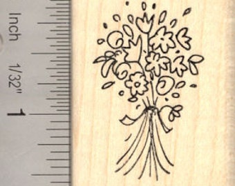 Bouquet of Flowers Rubber Stamp E13922 Wood Mounted, Wedding