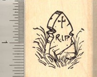 Tombstone Rubber Stamp D7420 Wood Mounted