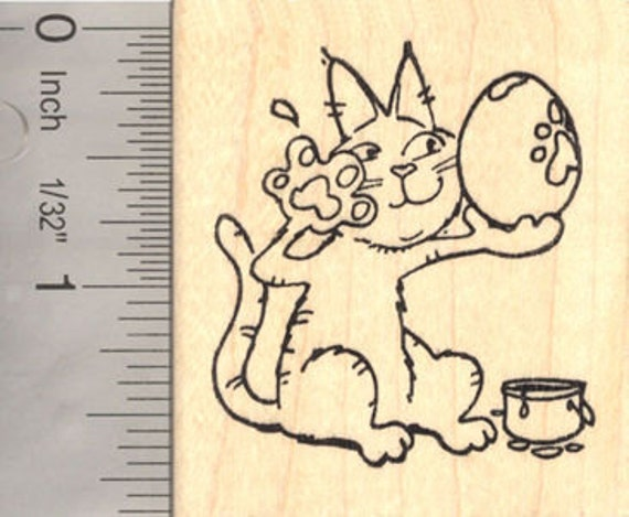Easter Cat Paw Painting Eggs Rubber Stamp  G16907 Wood Mounted