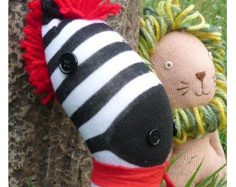 Sock Animal - Parsley and Trent PDF Sewing Pattern | sock toy, sock animals, toy lion, toy zebra, lion, zebra, sewing with socks, lion