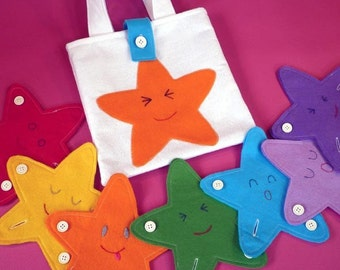 Buttoning Educational Toy and Star Bag PDF Sewing Pattern | educational toy, Montessori toy, star bag, rainbow toy, Kids tote, star toy,