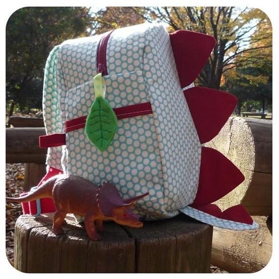Dinosaur Back Pack PDF Sewing Pattern   dinosaur bag, kids backpack, kids dinosaur bag, kids bag sewing pattern, back pack pattern, dino