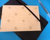 SALE khaki fleur de lis print upcycled envelopes 4.5ins x 6.5ins (11.25cm x 16.5cm) set of 8