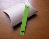 Grass green heart bookmarks or gift tags, set of 3