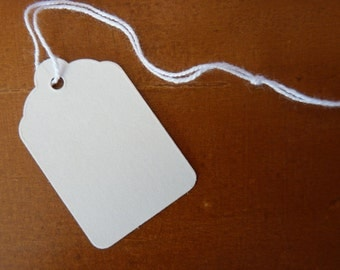Plain white strung small tags - set of 25