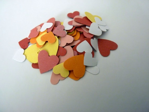 Mixed orange yellow white red pink heart confetti (set of 100)