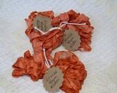Hand Dyed Wrinkled Rayon Ribbon - Burnt Orange