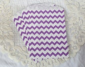 CLEARANCE - Middy Bitty, Medium Size, PURPLE and White Chevron Striped Paper Treat Bags - Qty 10