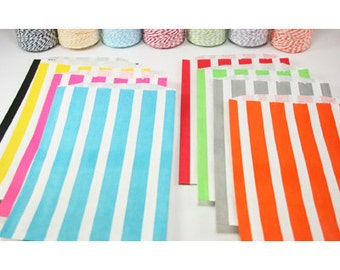 CLEARANCE Middy Bitty, Medium Size, PINK and White Vertical Striped Paper Treat Bags - Qty 10